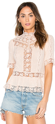 Rebecca Taylor Eyelet Mock Neck Top in Blush $350 thestylecure.com
