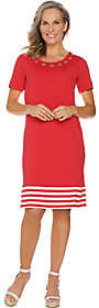 Factory Quacker Short Sleeve Knit Dress withGrommet Detail