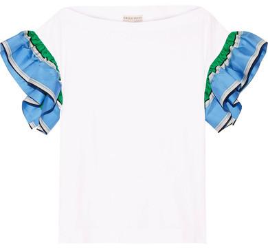 Emilio Pucci - Ruffled Silk Twill-trimmed Cotton-jersey Top - White