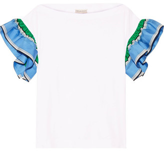 Emilio Pucci - Ruffled Silk Twill-trimmed Cotton-jersey Top - White $460 thestylecure.com