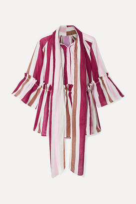 Yvonne S Angelica Ruffled Striped Linen Tunic - Burgundy