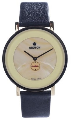 Croton Men's Ultra Thin Goldtone Leather Strap Watch