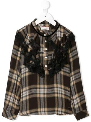 Pinko Kids frilled collarless check shirt