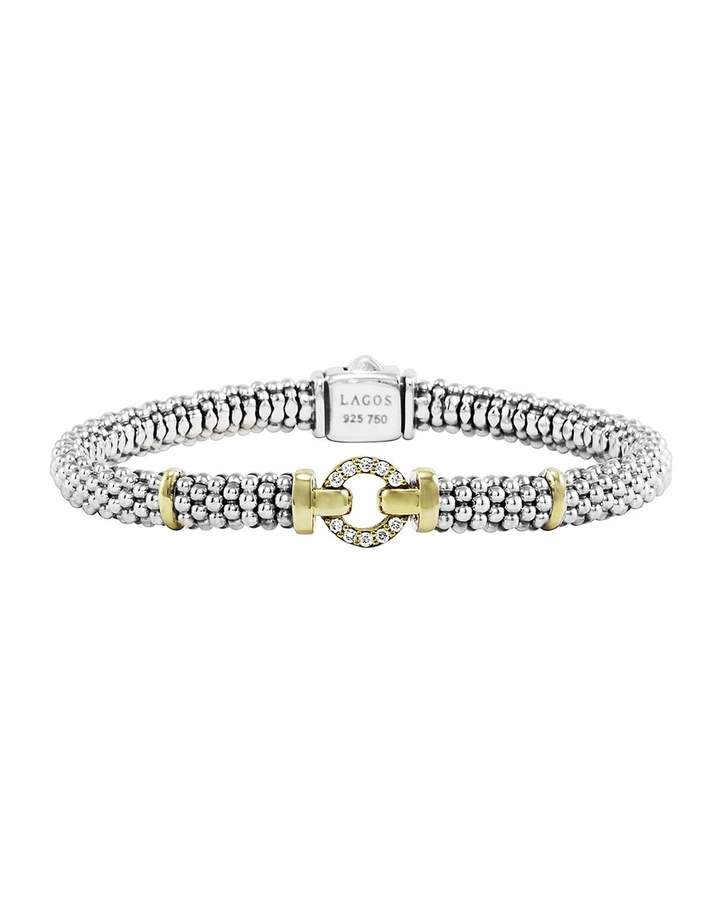 Lagos Sterling Silver & 18k Gold Rope Bracelet with Diamonds, 6mm