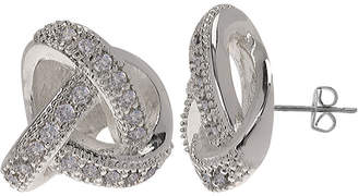 SPARKLE ALLURE Sparkle Allure Silver-Plated Cubic Zirconia Love Knot Earrings