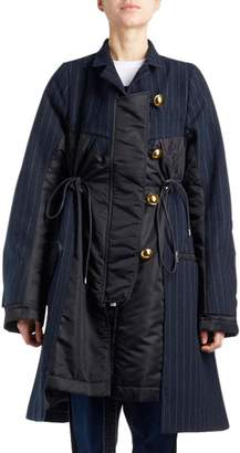 Sacai Golden-Button Drawstring Pinstripe Coat with Puffer Combo