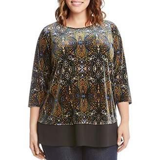 Karen Kane Women's Plus Size 3/4 Sleeve Contrast Hem Top