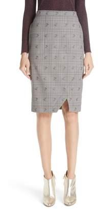 Altuzarra Wilcox Floral Plaid Front Slit Skirt