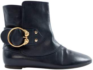 Alexander McQueen Navy Leather Ankle boots