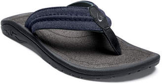 OluKai Men's Hokua Mesh Faux-Leather Flip-Flop Sandals, Night/Charcoal