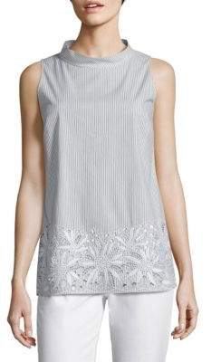 Lafayette 148 New York Kalyn Embroidered Striped Blouse