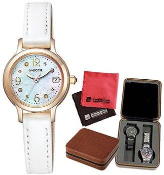 【セット】 [シチズン]CITIZEN 腕時計 KH4-921-90 [ウィッカ]wicca ソーラーテック限定モデル レディース [KH492190]・SE80004BR(4本用時計ケース)・マイクロファイバークロス 2枚セット V-81776