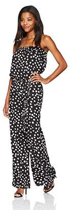 MSK Women's Strapless Challi Polka Dot Print Jumpsuit with Belt