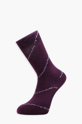 boohoo Romance Is Dead MAN Embroidered Socks