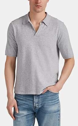Eleventy Men's Mélange Cotton-Blend Bouclé Polo Shirt - Light Gray