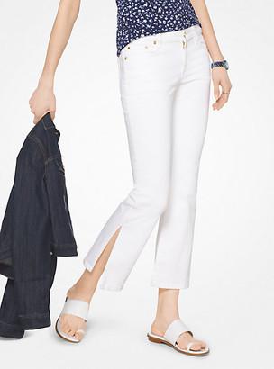 Michael Kors Split-Hem Cropped Flared Jeans