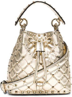 Valentino Small Metallic Rockstud Spike Bucket Bag