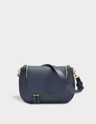 Anya Hindmarch Vere Soft Satchel Bag in Navy Grained Leather