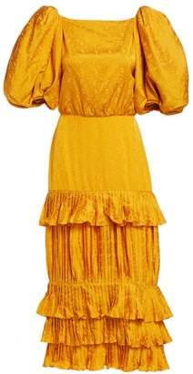 Johanna Ortiz Isolated Treasure Floral Jacquard Puff-Sleeve Ruffle Plisse Midi Sheath Dress