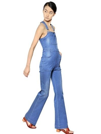 Stella McCartney Flared Stretch Cotton Denim Jumpsuit