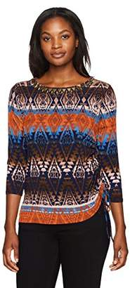e2034d1a059 Ruby Rd. Women s Plus Size Brushed Stripe Medallions Printed Top Side  Ruching