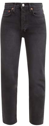RE/DONE Stove Pipe High Rise Straight Leg Jeans - Womens - Black