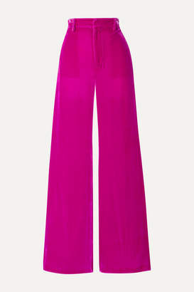 Les Rêveries Velvet Wide-leg Pants - Magenta