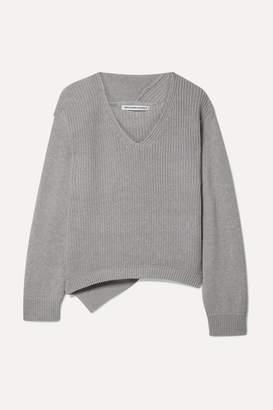 Alexander Wang Ribbed Cotton-blend Sweater - Light gray