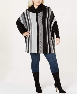 Joseph A Plus Size Striped Cowl-Neck Poncho Sweater