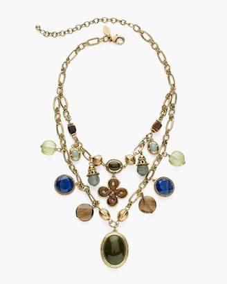 Reversible Multi-Colored-Blue Bib Necklace