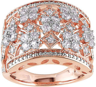FINE JEWELRY Lab-Created White Sapphire Rose-Tone Sterling Silver Ring