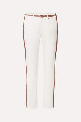 Burberry Leather-trimmed Mid-rise Straight-leg Jeans - White