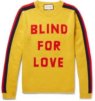 Gucci Slim-Fit Intarsia Wool Sweater - Yellow