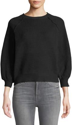 Sweet Romeo Waffle-Knit Balloon-Sleeve Cropped Sweater