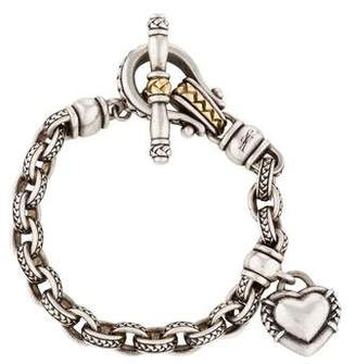 Pre Owned At Therealreal Scott Kay Two Tone Textured Heart Charm Bracelet