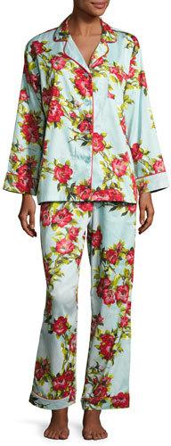 BedHeadBedhead Hibiscus Classic Pajama Set, Light Blue