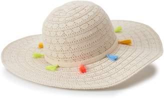 Mudd Juniors' Tassel Trim Crochet Floppy Hat