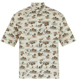 Bottega Veneta Hawaiian Print Short Sleeved Cotton Poplin Shirt - Mens - Beige Multi