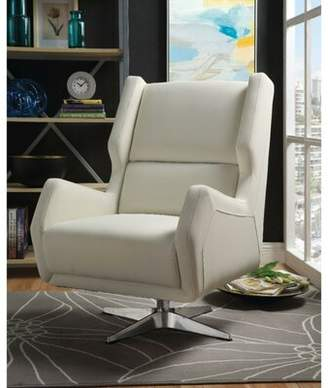 Bronx Ivy Miamisburg Metal Base Faux Leather Upholstered Swivel Wingback Chair Ivy