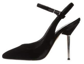 Lanvin Velvet Square-Toe Pumps Black Velvet Square-Toe Pumps