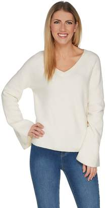 Peace Love World V-Neck Bell Sleeve Sweater