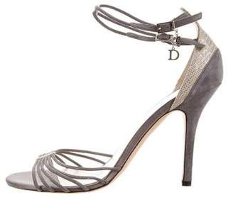 Christian Dior Suede Ankle Strap Sandals