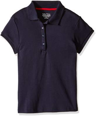 Nautica Girls' Uniform Short Sleeve Polo with Picot Stitch Collar