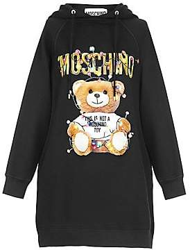 Moschino Women's Holiday Teddy Hooded Sweatshirt-Dress