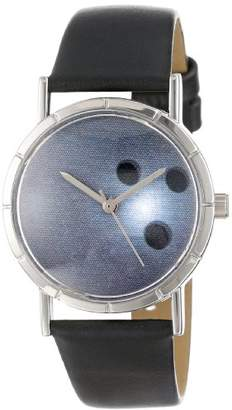 Whimsical Watches Kids' R0840013 Classic Bowling Lover Black Leather And Silvertone Photo Watch