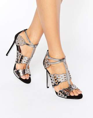 Carvela Give Gunmetal Metallic Heeled Sandals