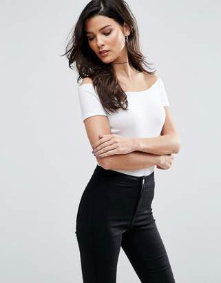 ASOS The Off Shoulder Body With Short Sleeves In Rib $18.50 thestylecure.com