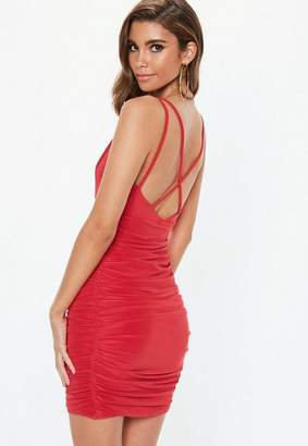 Missguided Red Slinky Cross Back Ruched Side Mini Dress