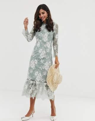 Vila contrast lace midi dress