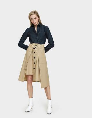 Colovos Tie Front Skirt in Khaki